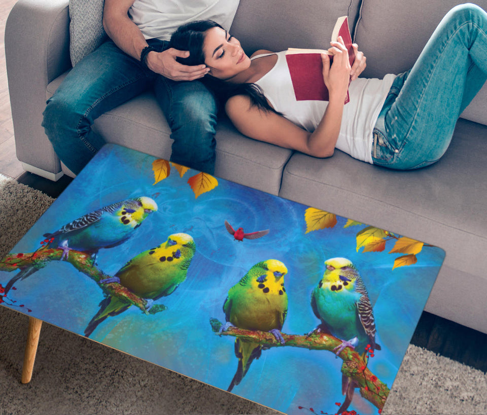 coffee table with parakeet print