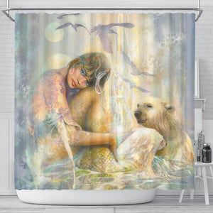 Mermaid Polar Bear Shower Curtain