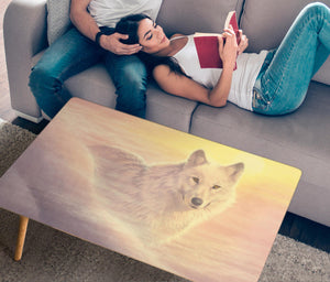 coffee table with white wolf print