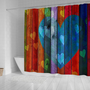 Shower Curtain ~ Wooden Hearts