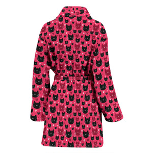 Red & Black Cat Women's Bath Robe