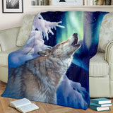 wolf  fleece blanket holy night