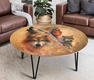 Coffee Table Native American Wolves