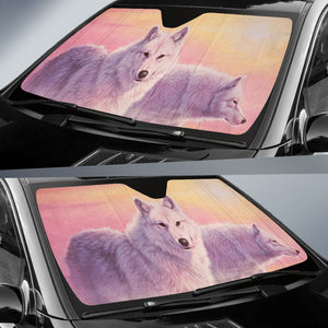 Car Sun Shade With Wolf Print Evening Mist