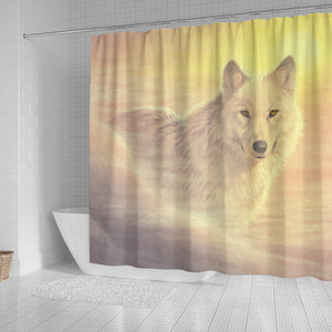 best shower curtain with unique wolf art. Buy online. Ships worldwide