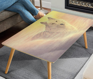 coffee table with white wolf print size