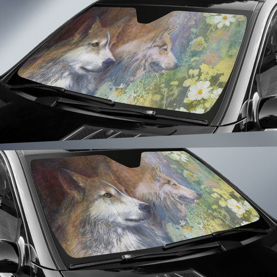 car sun shade with wolf print  algarve online shop