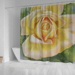 Floral Yellow Rose Bath Curtain