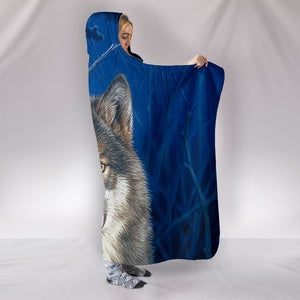 Wolf hooded Sherpa blanket moonshine