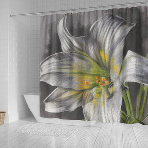 Shower Curtain - Flower Grey