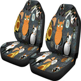 Funny cat crowd Car Seat Covers
