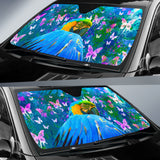 auto sun shade with parrot print