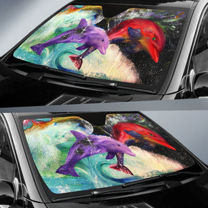 auto sun shade with dolphin print
