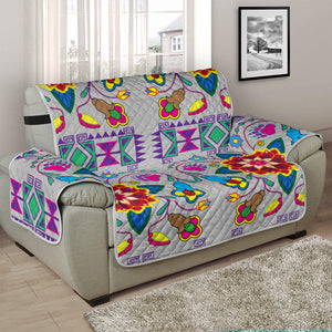 Sofa Protector Geometric Floral Winter Gray (White)