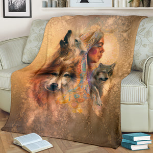 Wolf American Native Blanket