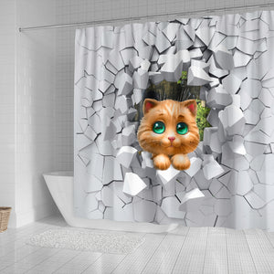 3d Cat Shower curtain ships worldwide