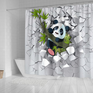 3D Panda Shower Curtains