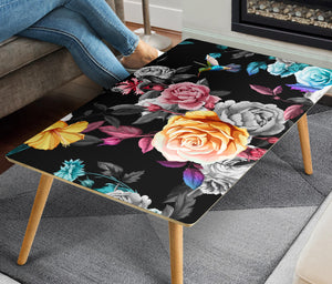 Handcrafted Roses and Hummingbird Coffee Table