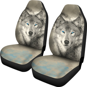 Car Seat Covers - Blue Eye Wolf