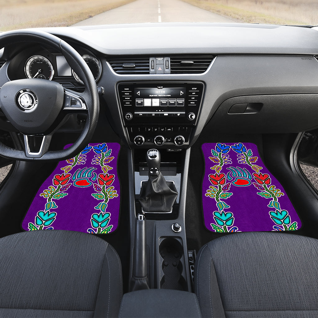 Generations Floral with Bearpaw Purple Front And Back Car Mats (Set Of 4)