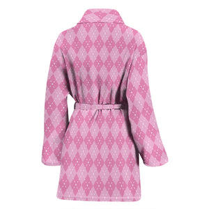 Pink Argyle Womens Bathrobe