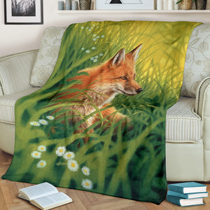 fox blanket outside