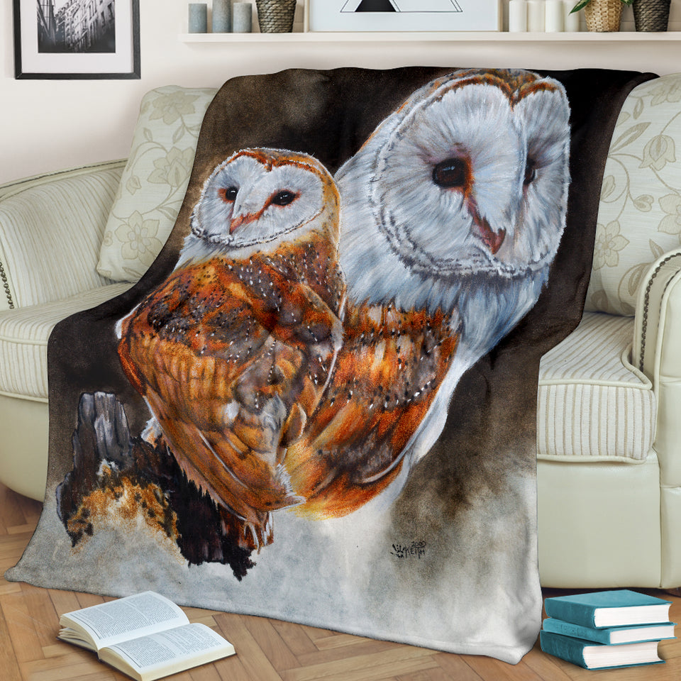 Owl Blanket with Barn owls