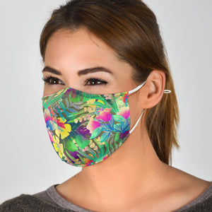 Tropical Print Face Mask With Filter