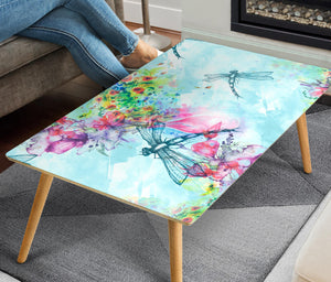 HandCrafted Dragonflies and Flowers Coffee Table