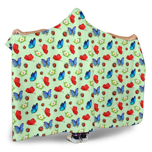 Butterfly Garden Hooded Blanket
