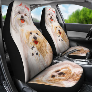 maltese dogs car seat covers 2 pc