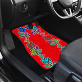 Generations Floral Old Tradecloth Red Front And Back Car Mats (Set Of 4)