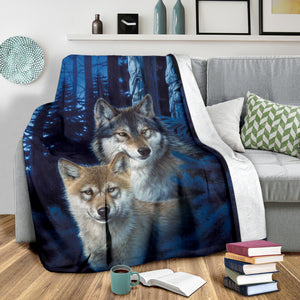 fleece blanket wolves