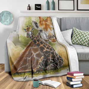 Fleece blanket with giraffe
