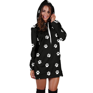 WOMEN'S PAW PRINTS HOODIE DRESS