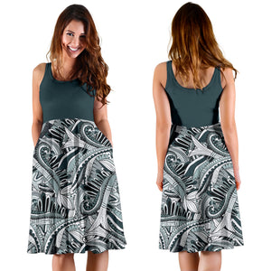 Funky Patterns in Blacks 2Tone - Women's Midi Dress
