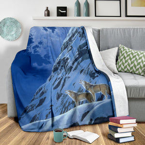 wolf mountain fleece blanket