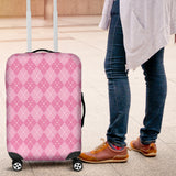 Pink Argyle Luggage Cover