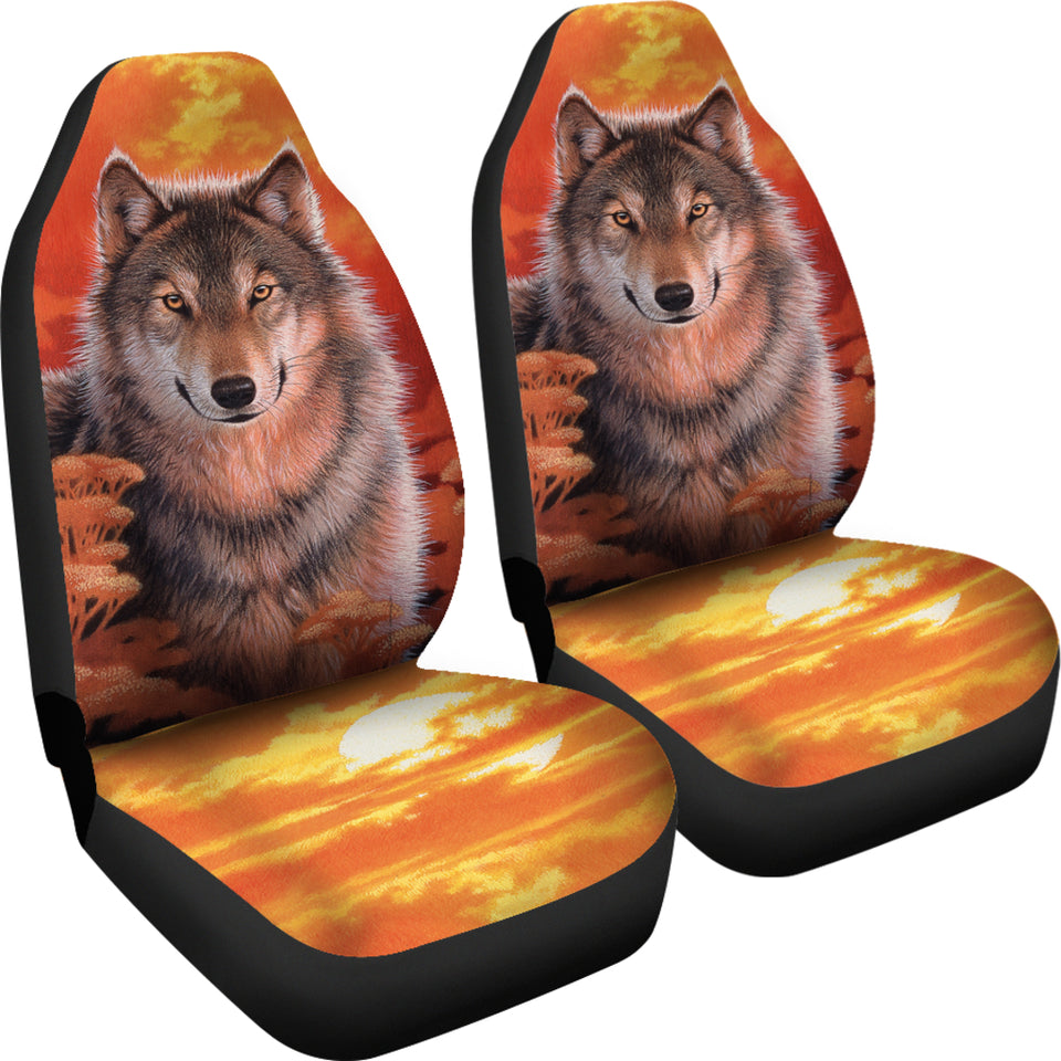 Car Seat Covers - Wolf Gaze