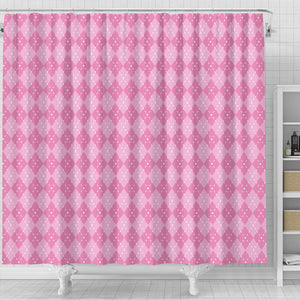 Pink Argyle Shower Curtain