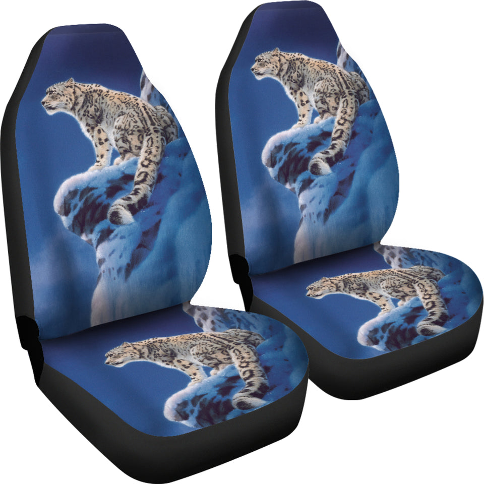 snow leopard ice hide out car seat covers