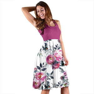 Floral Grey Roses & Peonies 2Tone - Women's Midi Dress