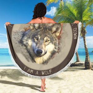 Beach Blanket - I am a Wolf