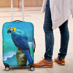 Cover for suite case with blue parrot