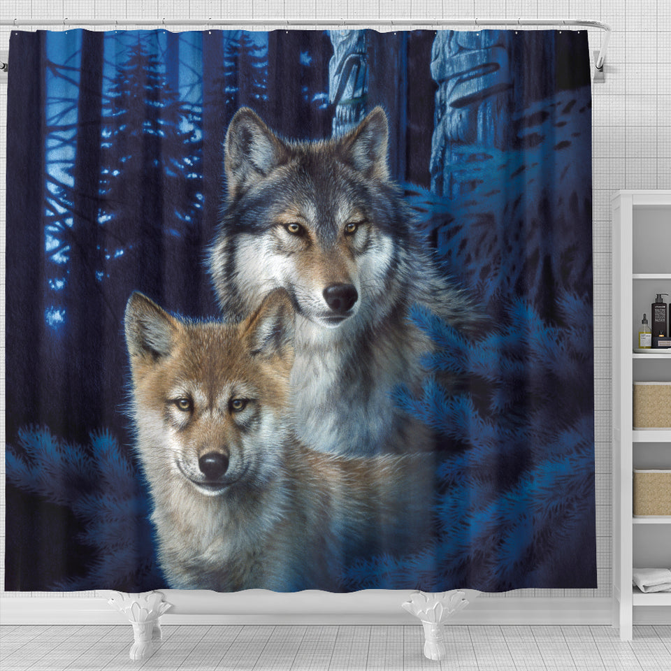 Wolf shower curtain Joh Naito