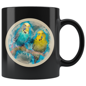 Parakeet mug black algarve online shop