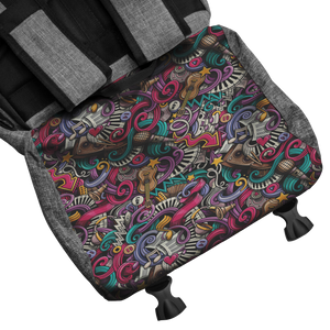 This Backpack with music print is for men and women.