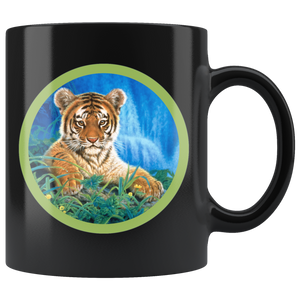Tiger coffee mug black