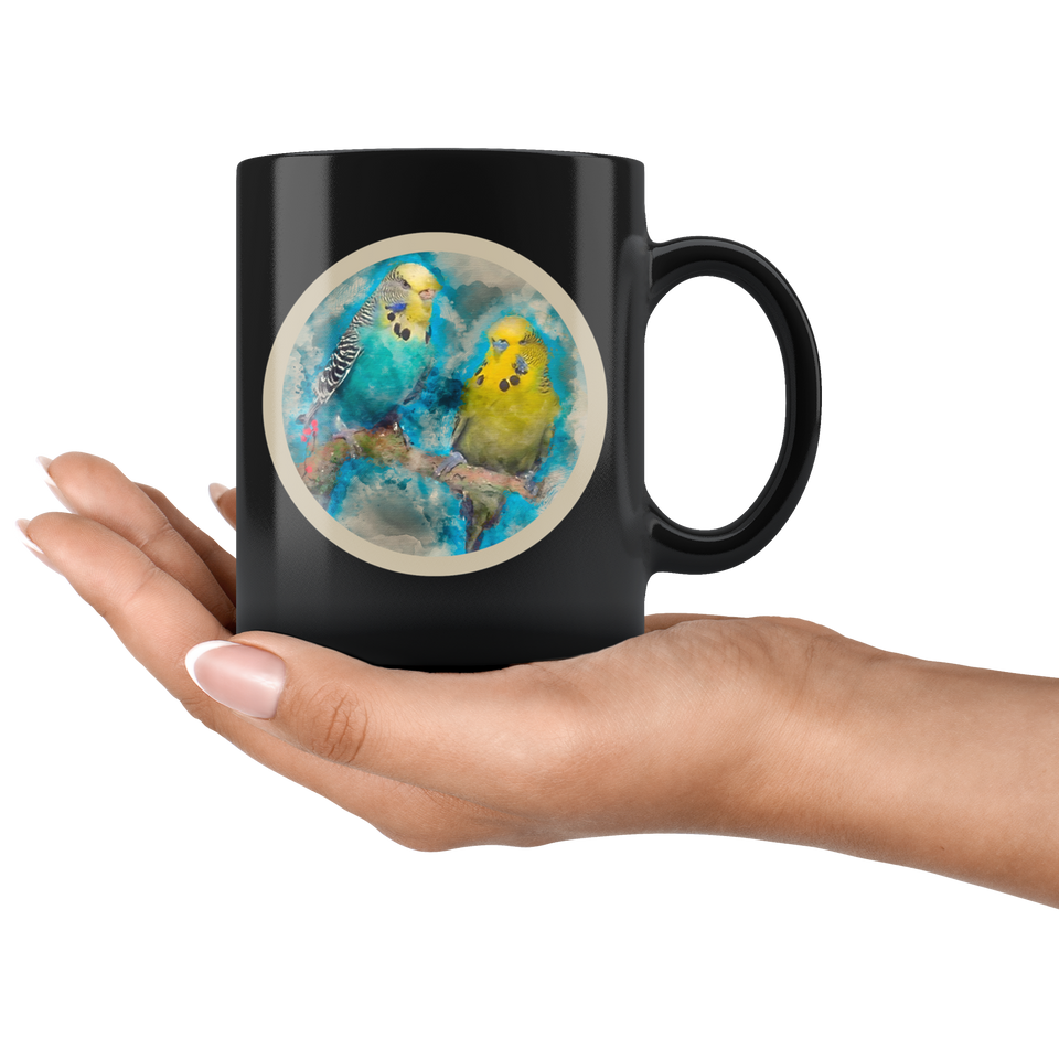Parakeet mug black algarve online shop own design