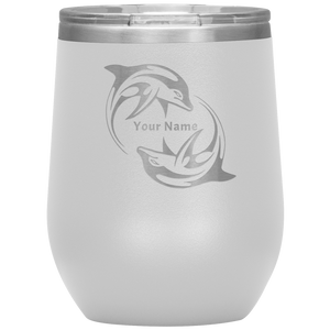 Dolphins Wine Tumbler - Personalized Laser Etched